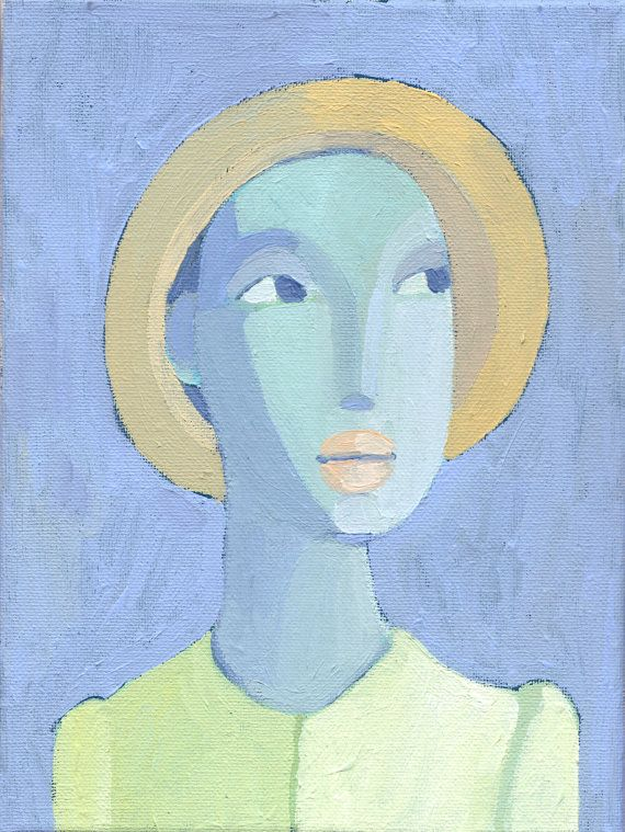 be happy now - etsy woman portrait original painting on canvas. $80.00, via Etsy.