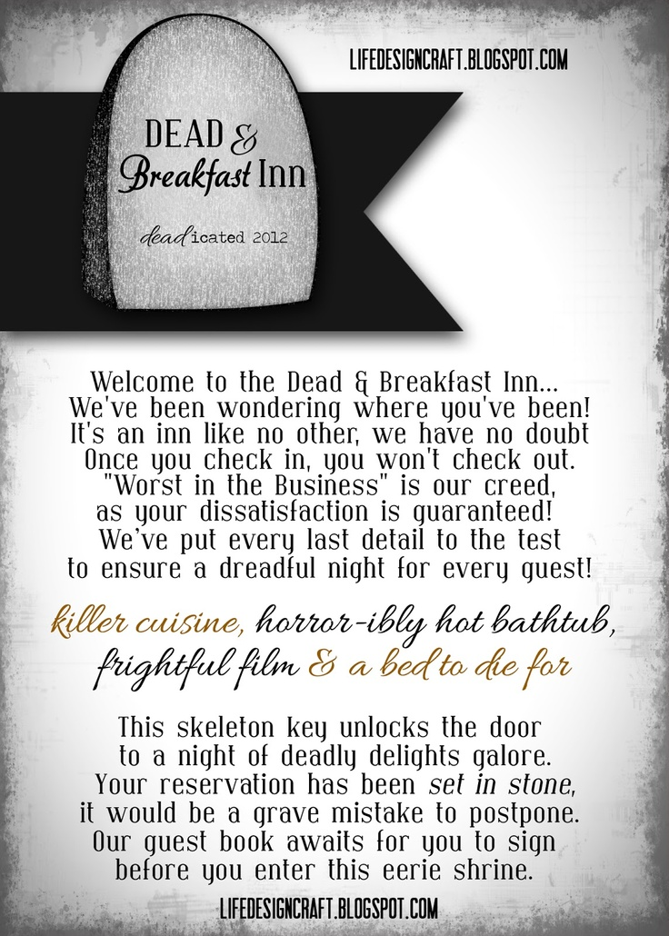 Life.Design. and the Pursuit of Craftiness: Dead & Breakfast Inn - Halloween Date Night