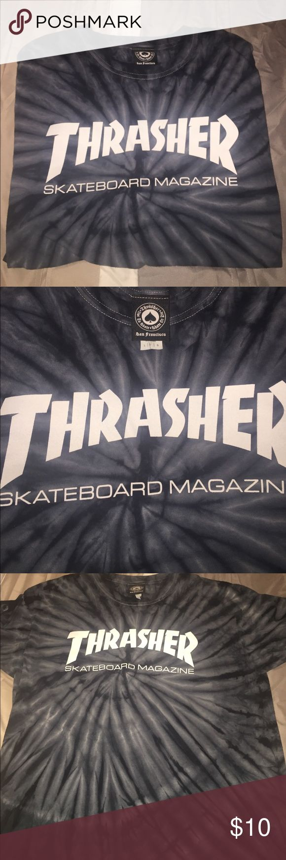 Thrasher shirt Thrasher shirt , blue and white tie dye . From ZUMIEZ . Only worn accouple of times . SIZE : LARGE thrasher Tops Tees - Short Sleeve