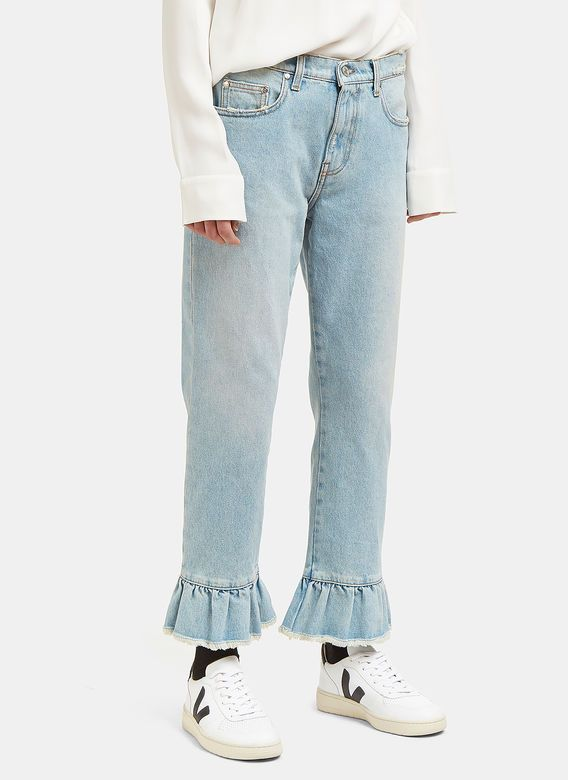 Women's Jeans - Clothing | Shop Now at LN-CC - Frilled Cuff Jeans