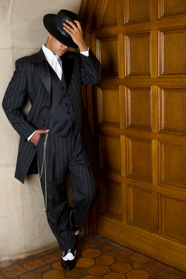 After Six Zoot Tux, shown with zoot chain and gangster hat. (wearing this to my wedding)