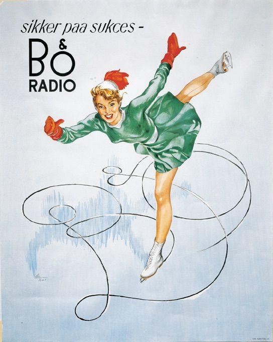 Bang & Olufsen poster from 1950 with Norwegian skate princess Sonja Henie.