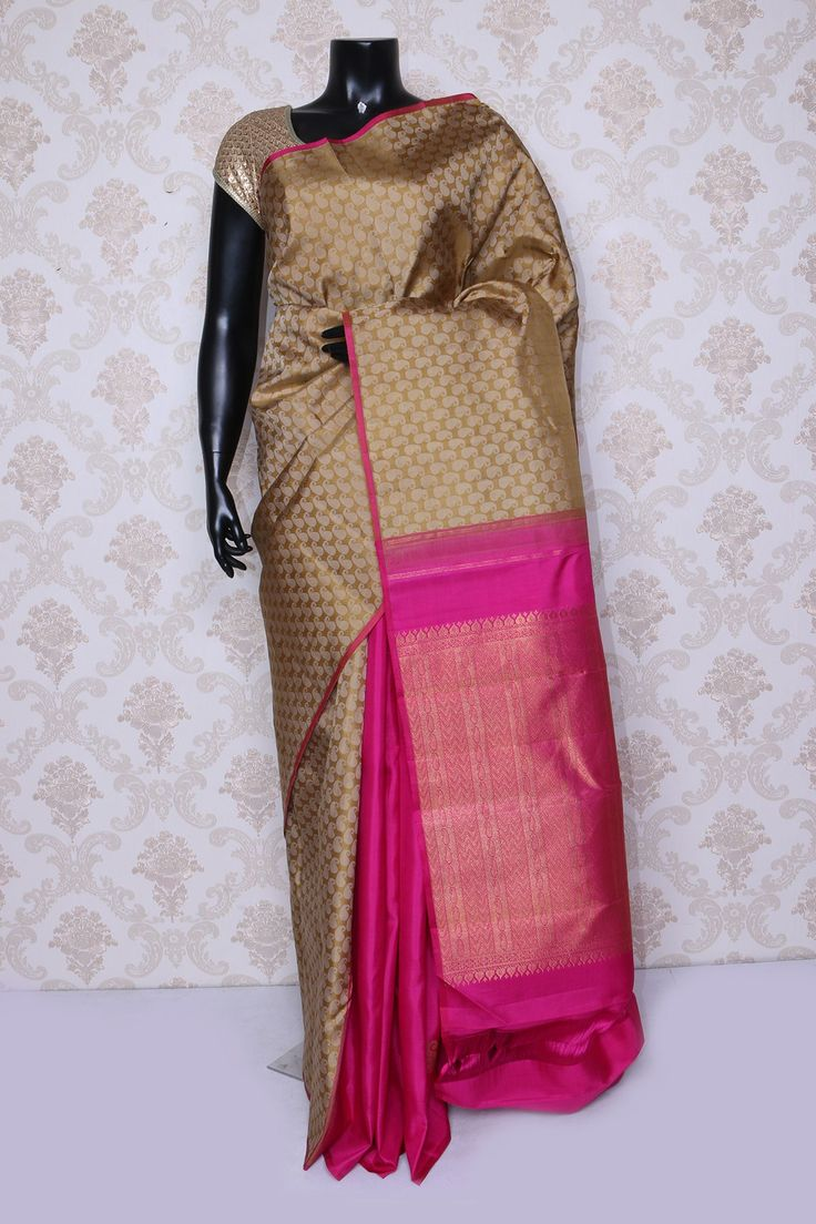 #Pretty beige multi color pure #kanchipuram silk zari weaved #saree -SR14072