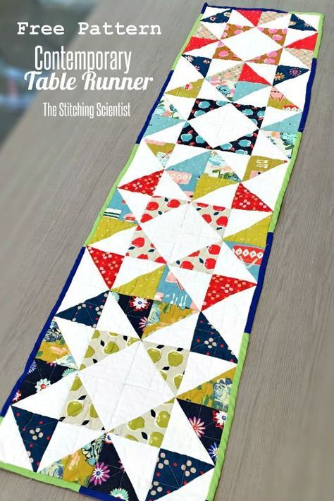 Free Contemporary Table Runner Pattern #freesewingpattern #tablerunner
