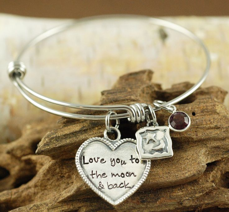 Love you to the moon and back Bracelet, Personalized Bangle Bracelet, Silver Moon and Star Bracelet, - Moon and Star Jewelry by AnnieReh on Etsy https://www.etsy.com/listing/224238569/love-you-to-the-moon-and-back-bracelet