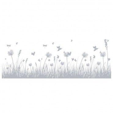 Fönsterfilm - Gräs med fjärilar