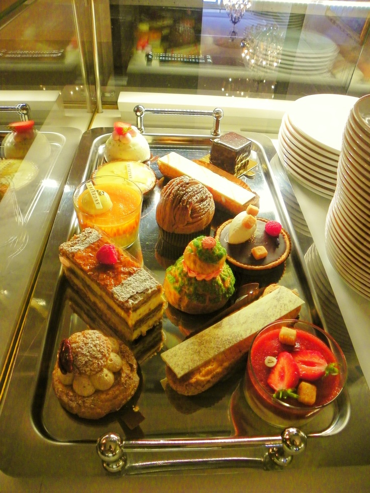 """Versaille, France. Beautiful & Fabulous French Pasteries are sold in the Cafe of The Estate of King Louis & Marie Antonette- w/ tea & coffee. """"Pastry As Art""""."""