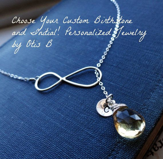 Set of THREE Sterling silver INFINITY NECKLACES, Custom Personalized Bridesmaid gifts, Lariat Y-necklace, birthstone & initial necklaces
