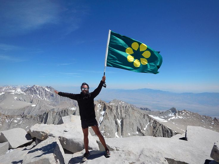 Australian flag proposal _ Golden Wattle Flag (2016). One of our supporters just summited Mount Whitney, the highest summit in the contiguous United States and the Sierra Nevada, with an elevation of 14,505 feet / 4421m !  https://www.facebook.com/goldenwattleflag #newaustralianflag #ausflag #goldenwattleflag