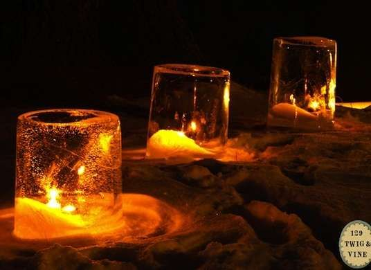 Make Ice Lanterns in a Bucket