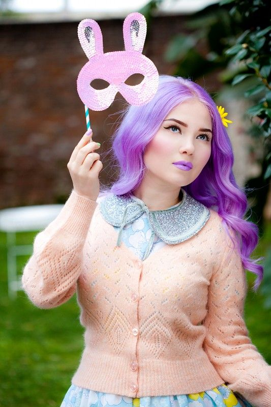 Lime Crime creator, Doe Deere   purple hair cardigan