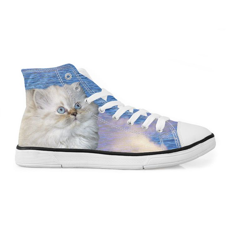 Cute Cat and Sky Canvas High Top Sneakers #cats #sneakers