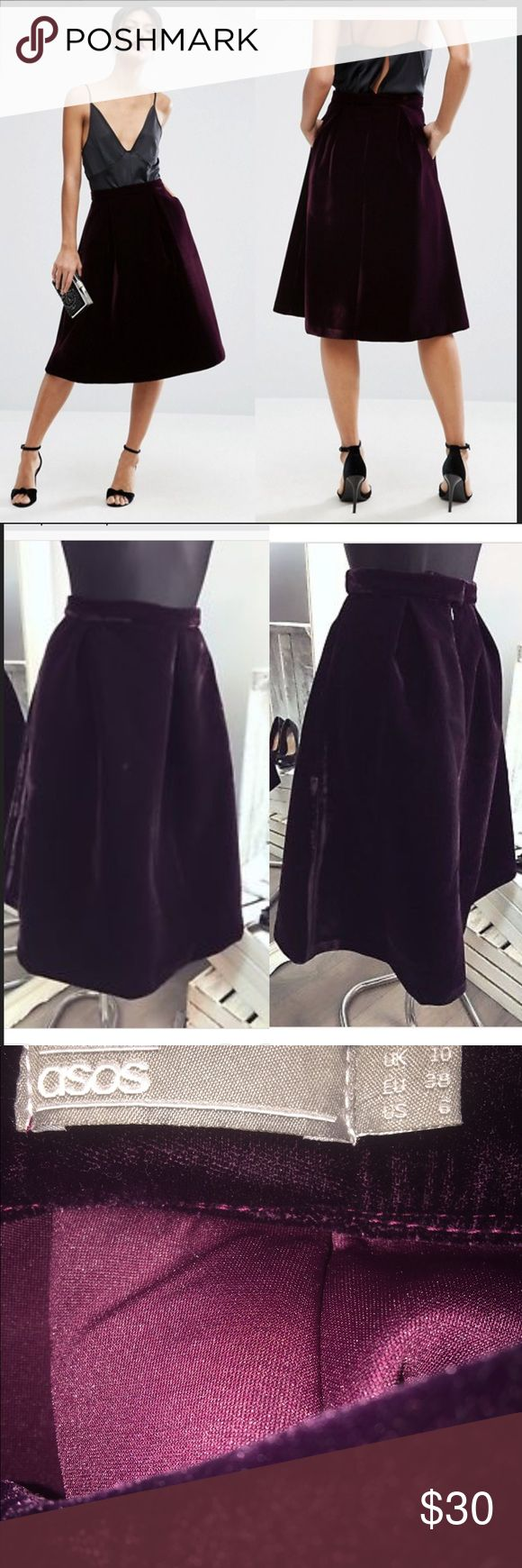 "ASOS Premium Prom Skirt in Bonded Velvet purple ASOS Premium Prom Skirt in Bonded Velvet color is dark berry very very dark maroon purple 14"" waist flat. 27"" length. Measurements from asos site. Worn once ASOS Skirts"