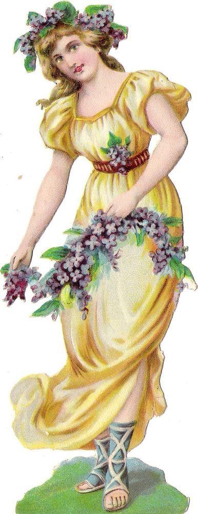 Oblaten Glanzbild scrap die cut chromo Lady 17cm Blumen Kind Nymphe femme fleur