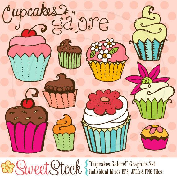 Cupcakes Galore Vector Graphics Set for Personal and Commercial Use. $5.00, via Etsy.