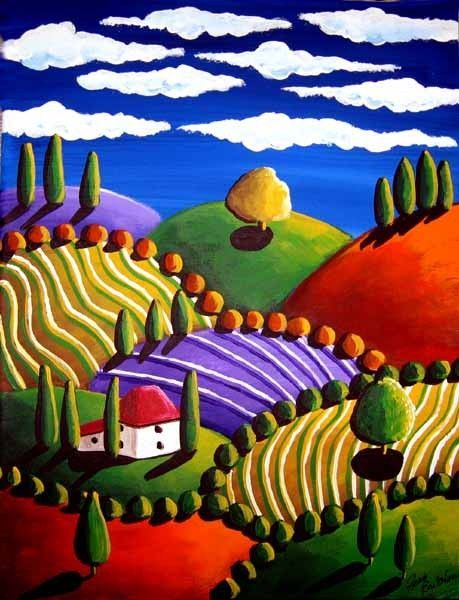 Whimsical Tuscan Colorful Landscape Folk Art by #Colorful Roses| http://your-colorful-rose-followers.blogspot.com