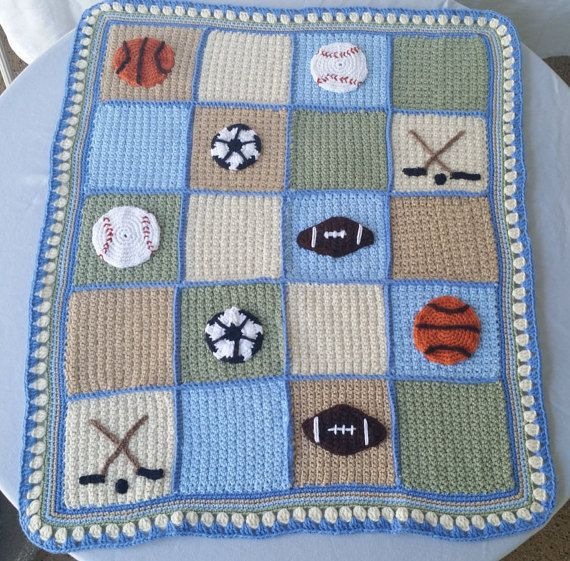 Sports lapghan, crochet baby blanket, baseball applique ...