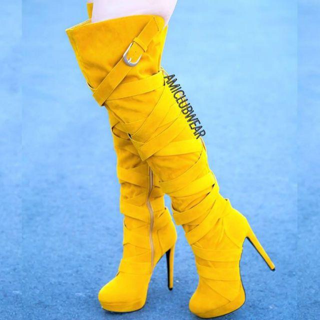 Wrap Around Strappy Thigh High Heel Boots