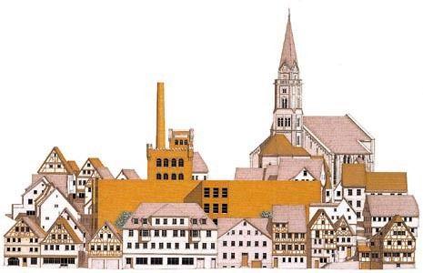 Elevation of the Kunsthalle Adolf Würth at Schwäbisch Hall by Giorgio Grassi / via