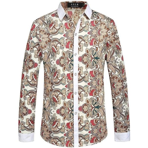 SSLR Men's Vintage Printed Long Sleeve Shirt (Small, Off-White) at... ($30) ❤ liked on Polyvore featuring men's fashion, men's clothing, men's shirts, men's casual shirts, mens vintage shirts, mens longsleeve shirts, mens long sleeve shirts, off white mens dress shirt and mens casual long sleeve shirts