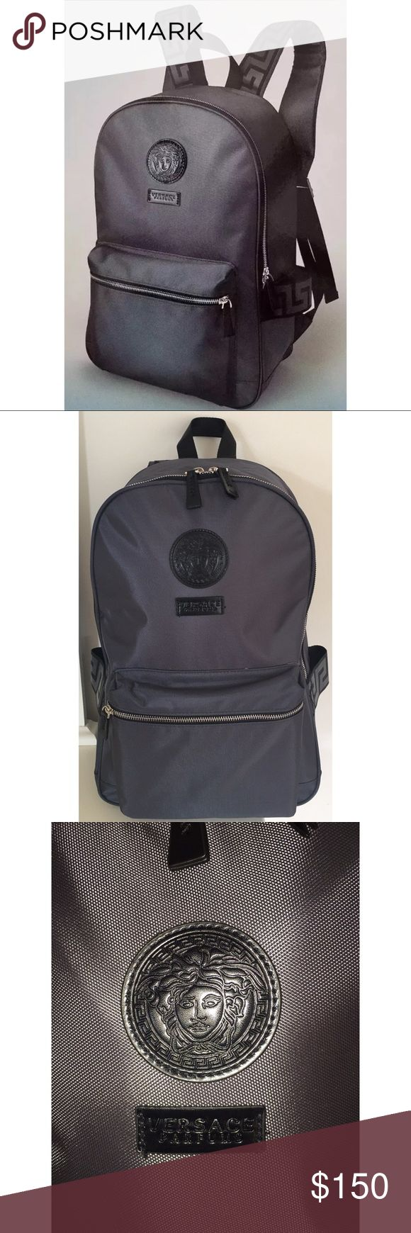 Versace Gray Medusa Logo Backpack 100% Authentic New Without Tags! 100% Authentic! This Backpack Is Gorgeous! Super Lightweight And Comfortable To Wear! Multiple Zip Compartments! Versace Bags Backpacks