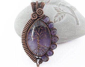 Amethyst árbol de la vida, púrpura árbol de la vida colgante, collar árbol de la vida, joyas de amatista, amatista joyas, alambre envuelto árbol de la vida
