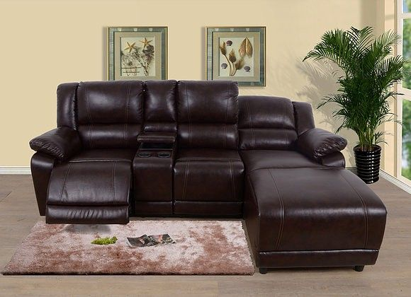 Gs4109 2 Pc Zion Brown Faux Leather Sectional Sofa With Recliner