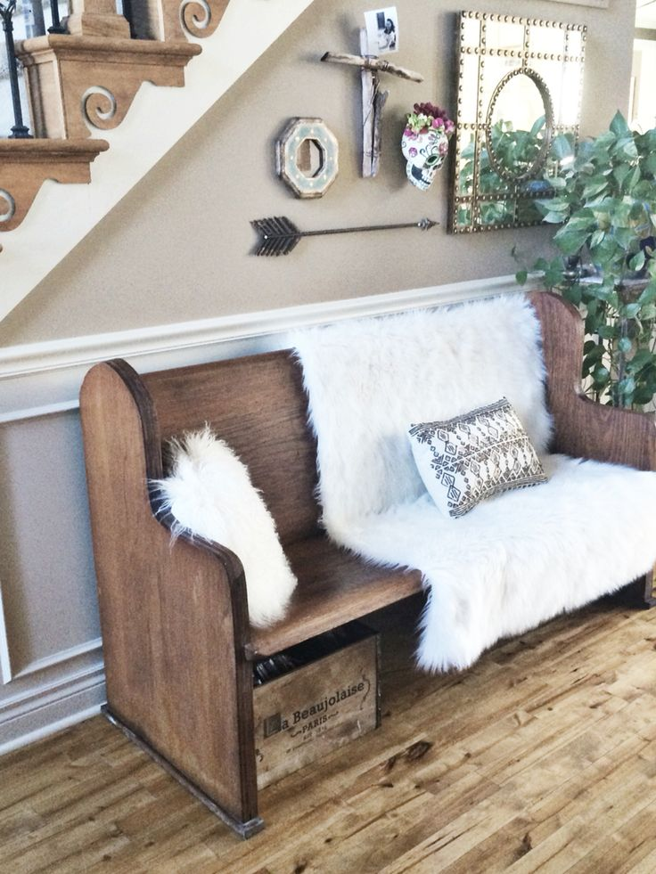 Old Church Pew For An Entryway Home