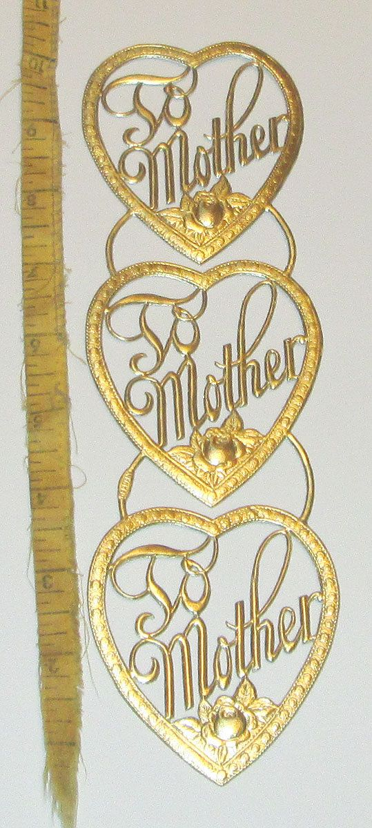 3 GERMAN Gold dresden diecut heart Valentine's day Mother's day embellishments scraps heavy paper decorations card making art trims sheet