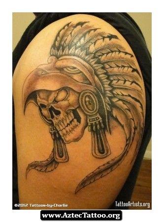 Skull Aztec Tattoo 06 - http://aztectattoo.org/skull-aztec-tattoo-06/