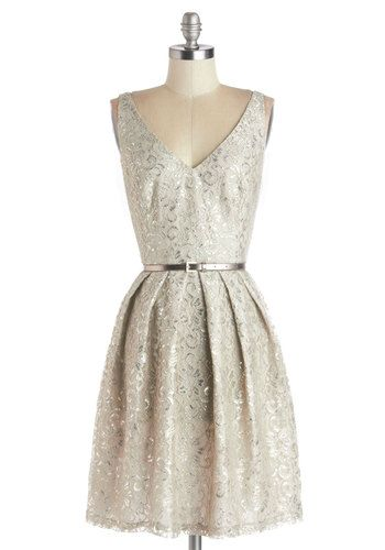 Silver Belle of the Ball Dress - Silver, Solid, Belted, Party, Cocktail, Holiday Party, Fit & Flare, Tank top (2 thick straps), Best, V Neck...
