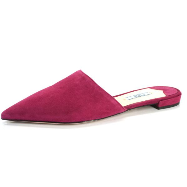 Prada Pointed Toe Fuschia Pink Suede Mule Pumps Size 38.5 Slide $530 (€375) ❤ liked on Polyvore featuring shoes, fuchsia shoes, fuschia pink shoes, prada mules, suede mule shoes and mule shoes