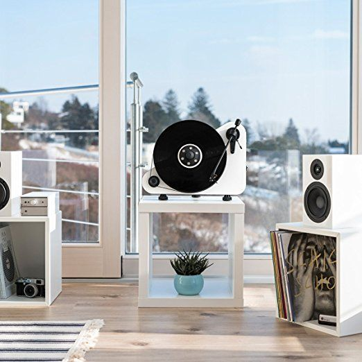 Pro-Ject Audio Systems PVTERW VT-E Vertical Turntable:   There's a vinyl revival going on, and an eye-catching turntable like this one will help you be a part of it. It has built-in Bluetooth, so it can connect to audio systems wirelessly.