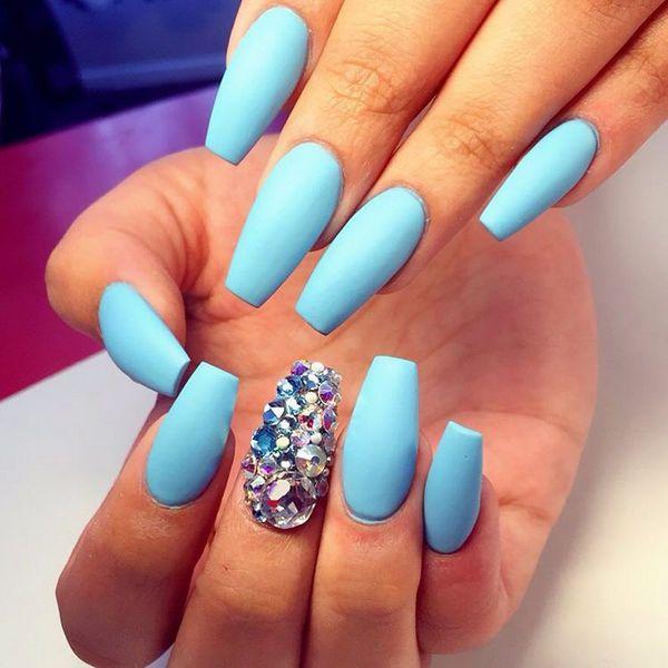 Blue matte nails collection