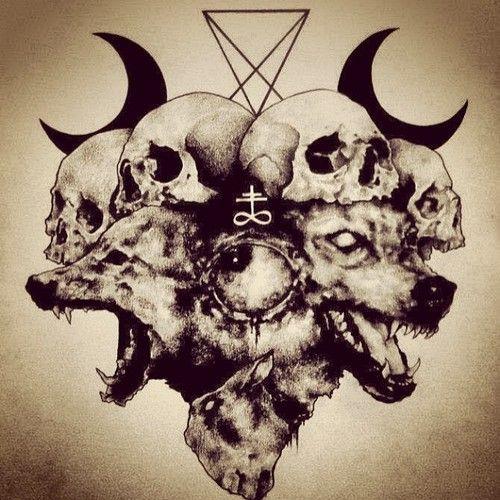 Wolf. Skull. Satan. Drawing.