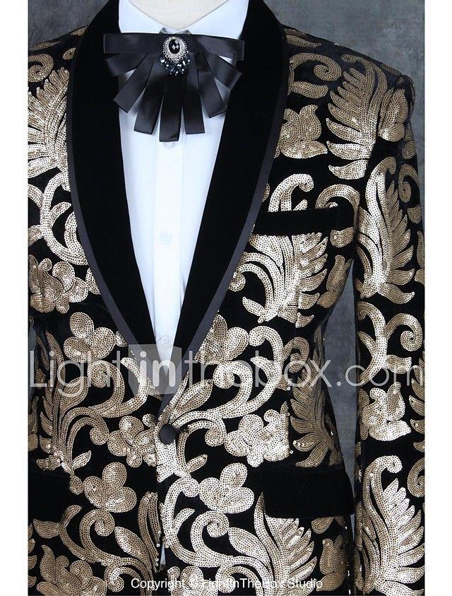 2017 trajes slim fit muesca individuales patrones de poliéster con un solo botón pecho de 2 piezas Champagne recta agitaron negro 2017 - $2686.89