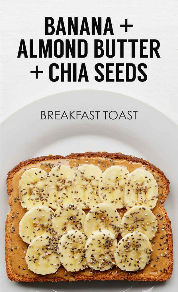 Sliced Banana Almond Butter Chia Seeds | 21 Ideas For Energy-Boosting Breakfast Toasts