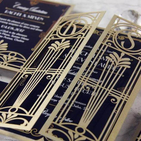 golden art deco great gatsby laser cut gatefold wedding day invitation - Great Gatsby Wedding Invitations