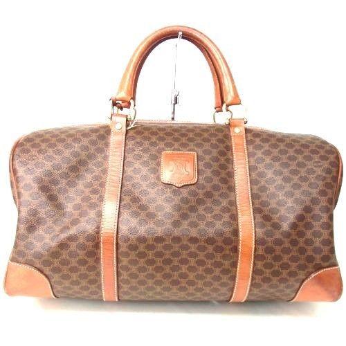 Authentic CELINE Macadam Pattern Boston Bag Vintage WOMEN HANDBAG LEATHER #Celine #Satchel