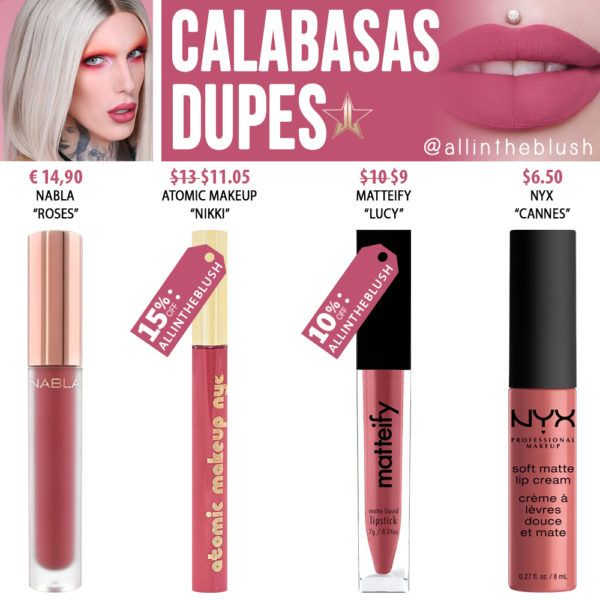 Jeffree Star Calabasas Velour Liquid Lipstick Dupes [Summer 2017