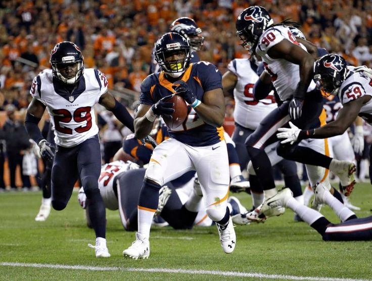 Monday Night Football: Texans vs. Broncos:     October 24, 2016  -  27-09, Broncos  -    Denver Broncos running back C.J. Anderson scores a touchdown against the Houston Texans during the first half of an NFL game, Monday, Oct. 24, 2016, in Denver.