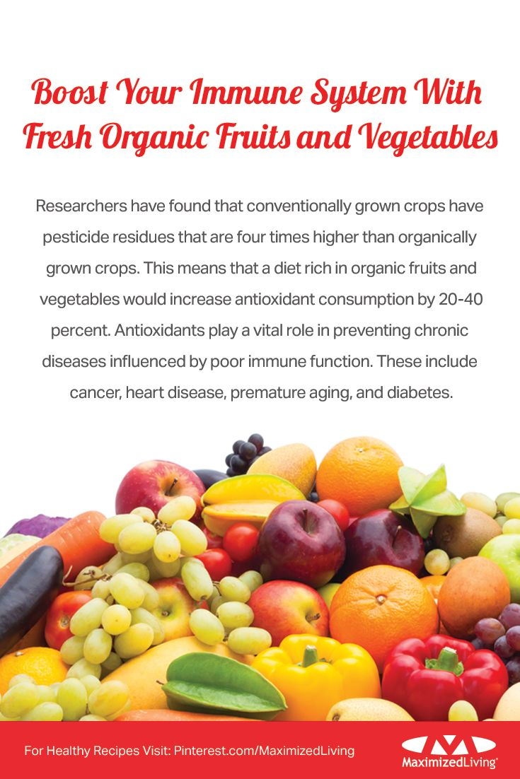Our latest immunity boost recommendation is here (and possibly in your kitchen too): fresh organic fruits and vegetables! Build your immune system by staying away from harmful chemicals found in nonorganic produce, and start eating organic. Don't forget, you are what you eat!