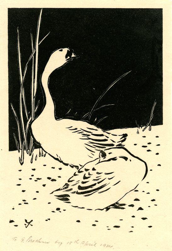 (Two Geese) by Yoshijiro Urushibara