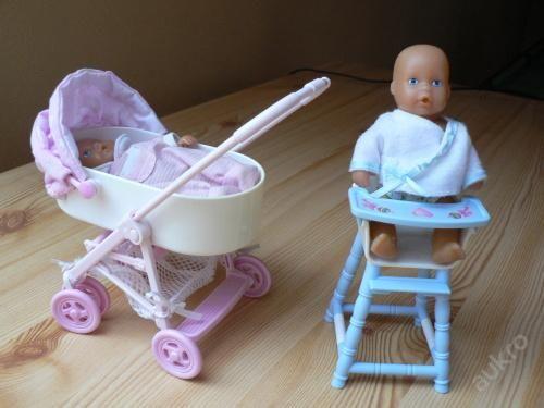 2 panenky Steffi s kočárkem a židličkou