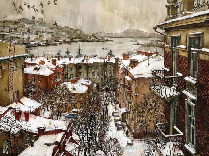 Евгений и Оксана Осиповы. Дворы, бумага,смешанная техника. Городской пейзаж. Владивосток.