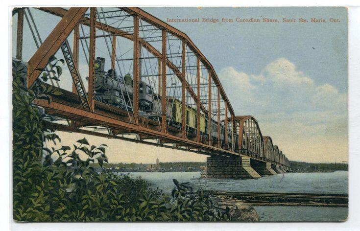 Railroad Train International Bridge Sault Ste Marie Ontario Canada postcard