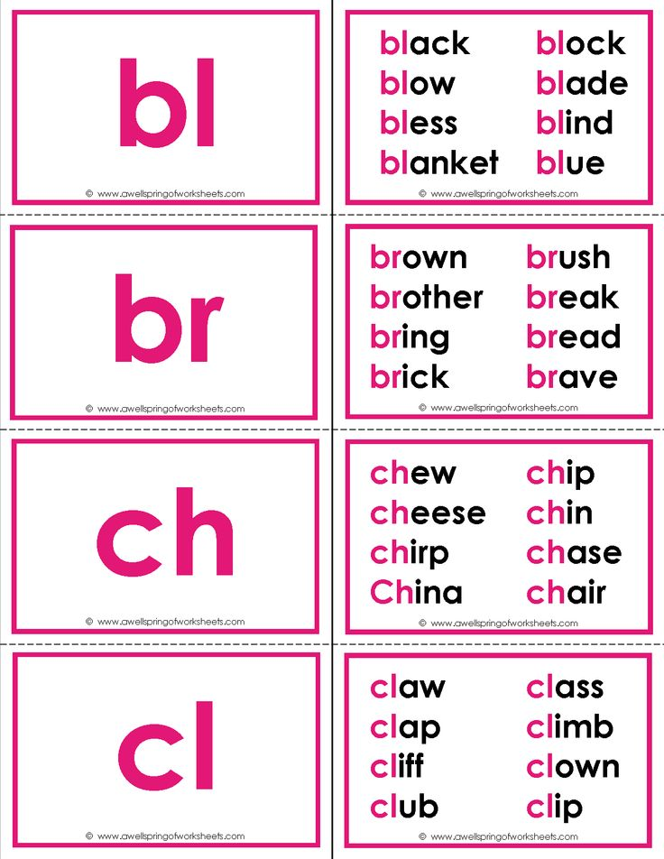 Beginning blends flash cards including up to 8 words that