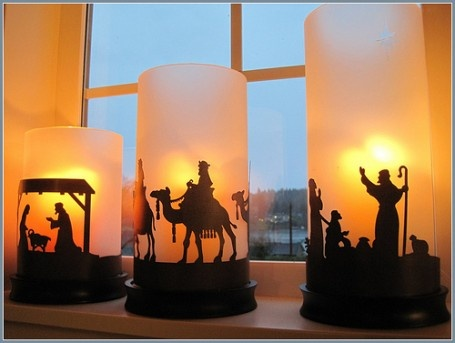 Candle Nativity: Nativity Hurricanes, Holiday Ideas, Christmas Nativity, Christmas Crafts, Candle Nativity, Christmas Ideas, Nativity Scenes, Christmas Houses, Nativity Candles