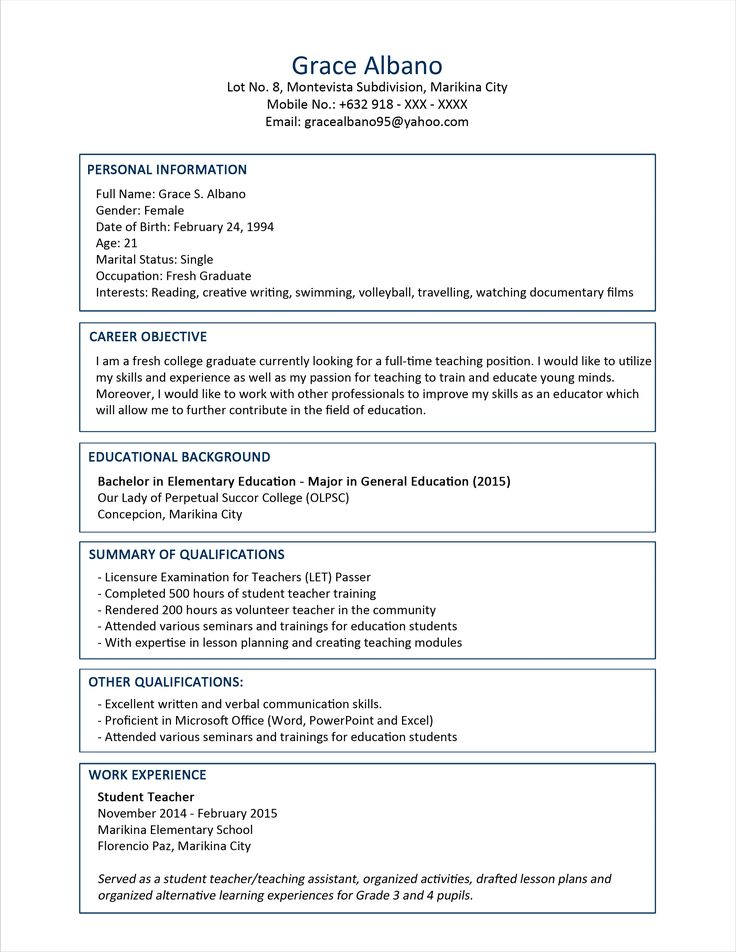 25+ beste ideeën over Sample resume op Pinterest - Creatieve cv - sample resume for fresh graduate