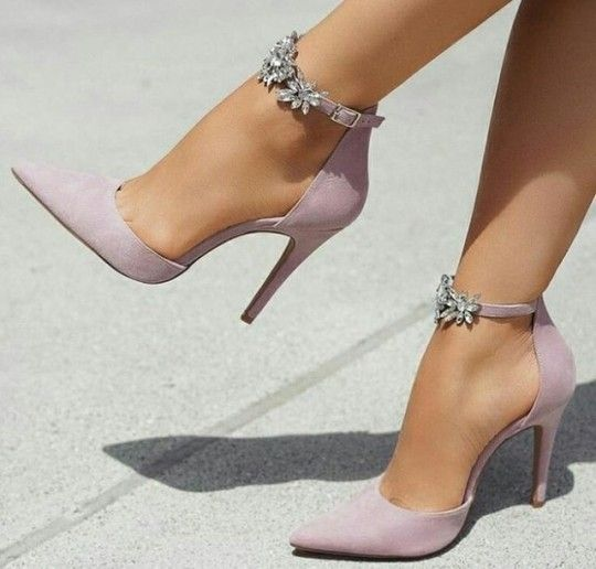 Taupe Stilettos with Rhinestone ankle straps